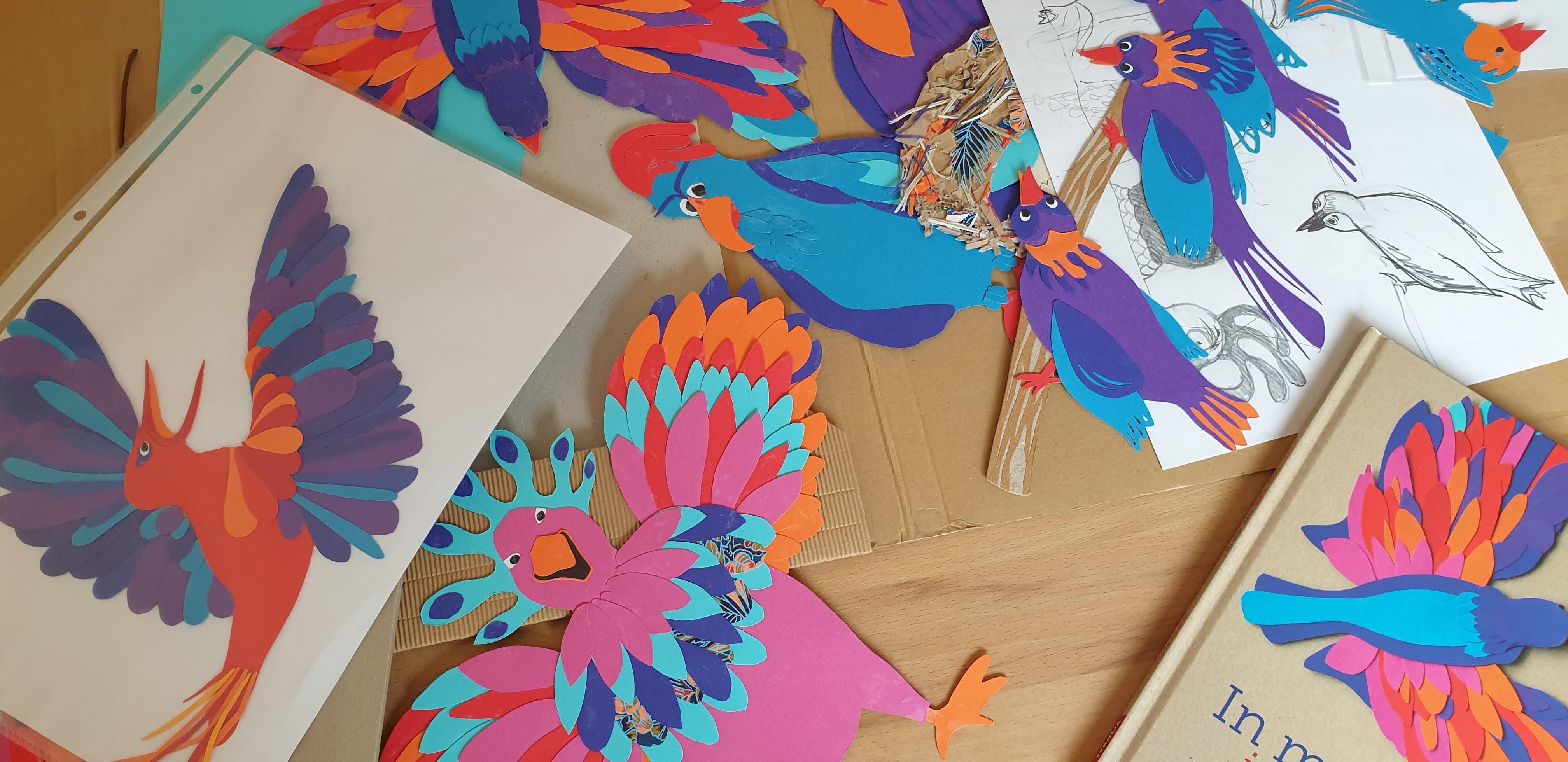 Bilderbuch, Gefühle, Illustration, Vögel, basteln, Collage, vorlesen, Kindergarten