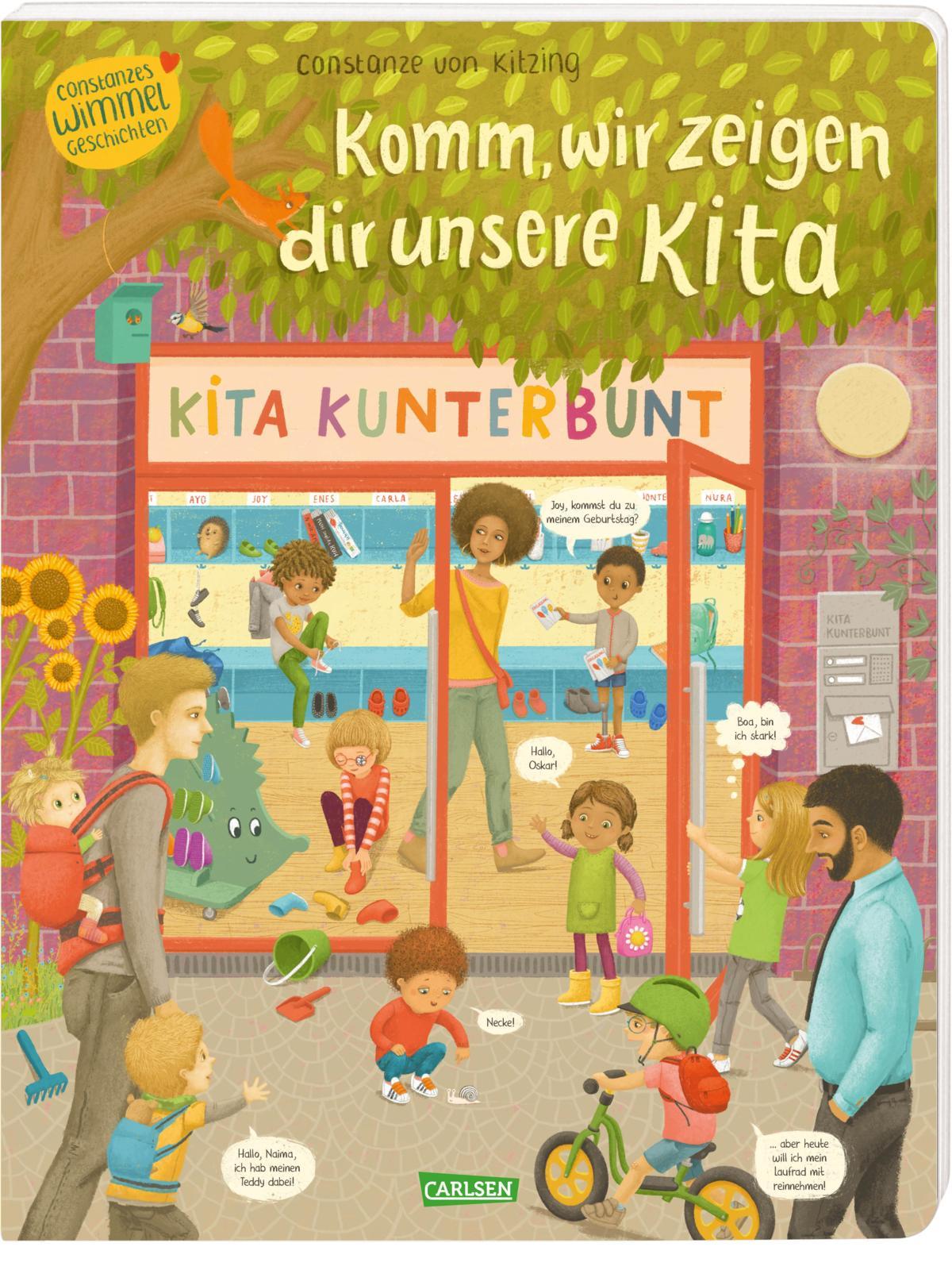 Constanze von Kitzing, Wimmelbuch, Kindergarten, Vielfalt, Diversity, Familie, vorlesen, Kinder, Eingewöhnung, Bilderbuch, Pappbilderbuch